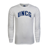 White Long Sleeve T Shirt-Arched UNCG