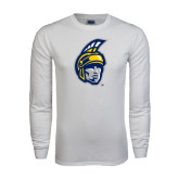 White Long Sleeve T Shirt-Spartan Head