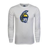 White Long Sleeve T Shirt-Spartan Head