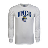 White Long Sleeve T Shirt-Arched UNCG w/Spartan Distressed
