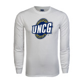 White Long Sleeve T Shirt-UNCG Shield Distressed