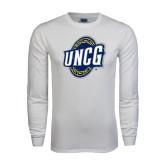 White Long Sleeve T Shirt-UNCG Shield Distressed