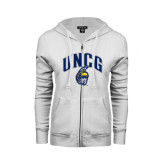 ENZA Ladies White Fleece Full Zip Hoodie-Arched UNCG w/Spartan