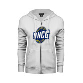 ENZA Ladies White Fleece Full Zip Hoodie-UNCG Shield