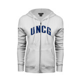 ENZA Ladies White Fleece Full Zip Hoodie-Arched UNCG