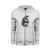 ENZA Ladies White Fleece Full Zip Hoodie-Spartan Head