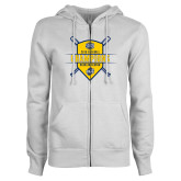 ENZA Ladies White Fleece Full Zip Hoodie-2018 Baseball Regular Season Champions