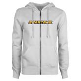 ENZA Ladies White Fleece Full Zip Hoodie-Spartans Wordmark