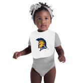 White Baby Bib-Spartan Logo