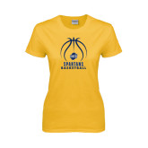 Ladies Gold T Shirt-Stacked Basketball
