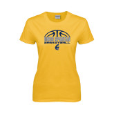 Ladies Gold T Shirt-Arched Basketball Design