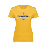 Ladies Gold T Shirt-Basketball Net Design