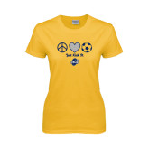 Ladies Gold T Shirt-Just Kick It