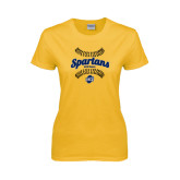 Ladies Gold T Shirt-Softball Ball Design