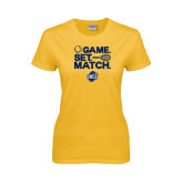 Ladies Gold T Shirt-Game Set Match - Tennis Design