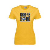 Ladies Gold T Shirt-Greensboro Stacked with Shield