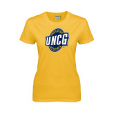 Ladies Gold T Shirt-UNCG Shield Distressed
