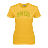 Ladies Gold T Shirt-UNCG Rhinestones