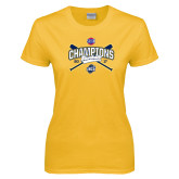 Ladies Gold T Shirt-Baseball SoCon Champions 2017 - Crossed Sticks