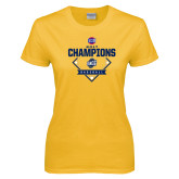 Ladies Gold T Shirt-Baseball SoCon Champions 2017 - Diamond
