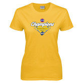 Ladies Gold T Shirt-Baseball SoCon Champions 2017 - Banner w/ Plate