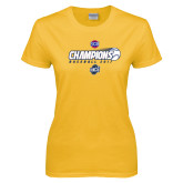 Ladies Gold T Shirt-Baseball SoCon Champions 2017 - Ball in Motion