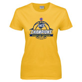Ladies Gold T Shirt-2017 SoCon Regular Season Basketball Champions - Banner