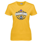 Ladies Gold T Shirt-2017 SoCon Regular Season Basketball Champions - Arched