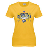 Ladies Gold T Shirt-2017 SoCon Regular Season Softball Champions - Crossed Bats