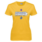 Ladies Gold T Shirt-2017 SoCon Regular Season Softball Champions - Ball