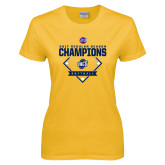 Ladies Gold T Shirt-2017 SoCon Regular Season Softball Champions - Diamond