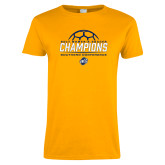 Ladies Gold T Shirt-2017 Womens Soccer Champions