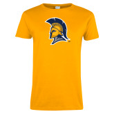 Ladies Gold T Shirt-Spartan Logo