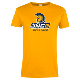 Ladies Gold T Shirt-UNCG Spartans Stacked
