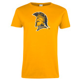 Ladies Gold T Shirt-Official Artwork Distressed 2