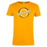 Ladies Gold T Shirt-Spartans Circle