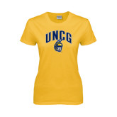 Ladies Gold T Shirt-Arched UNCG w/Spartan