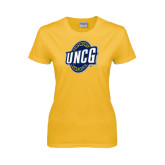 Ladies Gold T Shirt-UNCG Shield