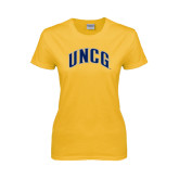 Ladies Gold T Shirt-Arched UNCG