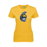 Ladies Gold T Shirt-Spartan Head