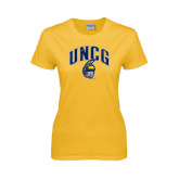 Ladies Gold T Shirt-Arched UNCG w/Spartan Distressed