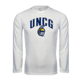 Performance White Longsleeve Shirt-Arched UNCG w/Spartan