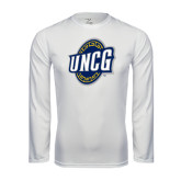Performance White Longsleeve Shirt-UNCG Shield