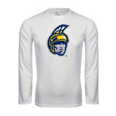 Performance White Longsleeve Shirt-Spartan Head