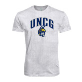 Next Level Heather White Tri Blend Crew-Arched UNCG w/Spartan