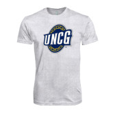 Next Level Heather White Tri Blend Crew-UNCG Shield