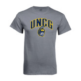 Charcoal T Shirt-Arched UNCG w/Spartan Distressed