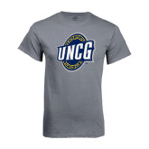 Charcoal T Shirt-UNCG Shield Distressed