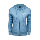 ENZA Ladies Light Blue Fleece Full Zip Hoodie-Arched UNCG w/Spartan