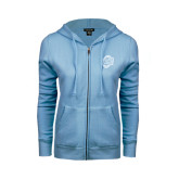 ENZA Ladies Light Blue Fleece Full Zip Hoodie-UNCG Shield
